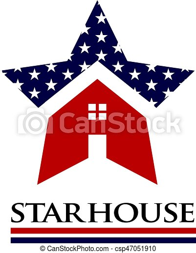American Star House Logo Illustration - csp47051910