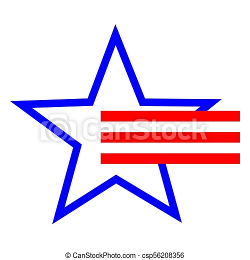 American Star Symbol And Red Stripes American Stylized Star Symbol