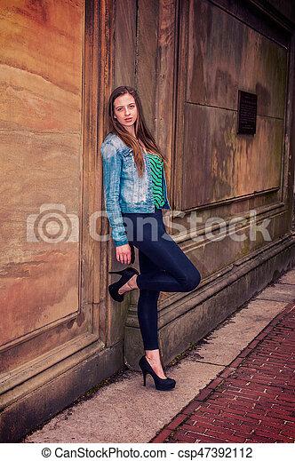e0ad333e19f American teenage girl thinking outside in new york. Merican teenage ...