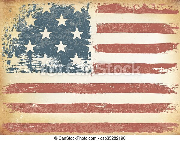 American Themed Flag Background. Grunge Aged Vector Template. Horizontal orientation. - csp35282190