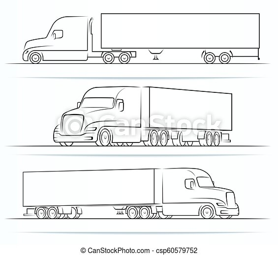 American truck silhouettes, outlines, contours - csp60579752
