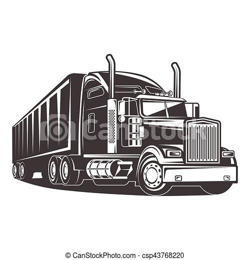 American Truck Trailer black and white illustration - csp43768220