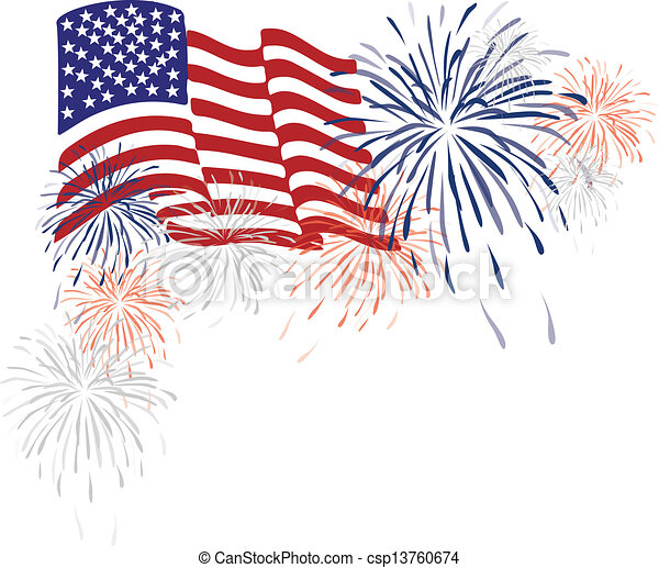 American Usa Flag and Fireworks - csp13760674