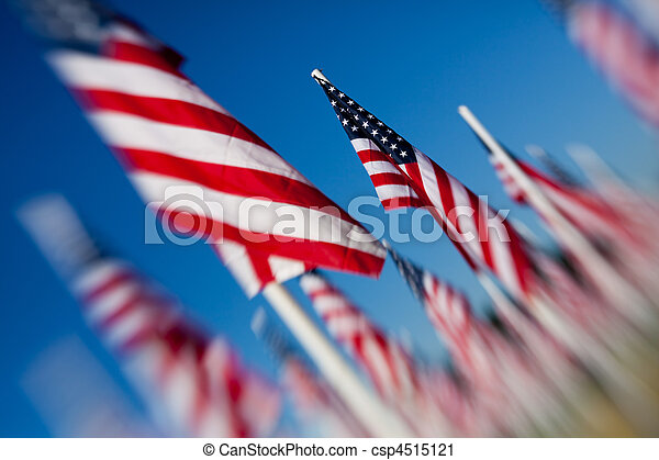 American USA flags group - csp4515121