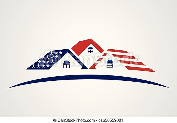 American USA houses logo - csp58559001