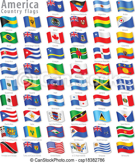 American Vector Waving flag Set - csp18382786