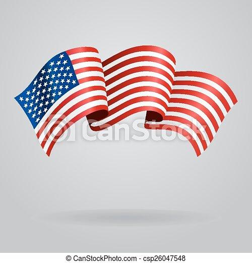 American waving Flag. Vector illustration - csp26047548