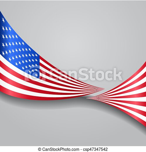 American wavy flag. Vector illustration. - csp47347542
