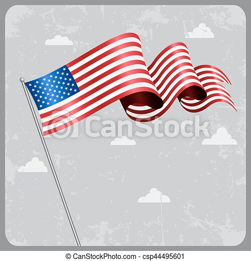 American wavy flag. Vector illustration. - csp44495601