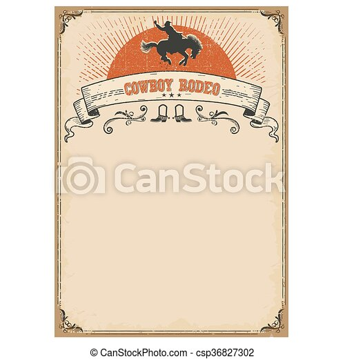American western background for text. Cowboy rodeo - csp36827302
