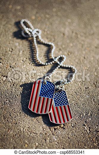 americano, cane, bandiera, fondo, etichette - csp68553341