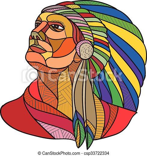 Americano Chefe Indianas Desenho Headdress Nativo Guerreira