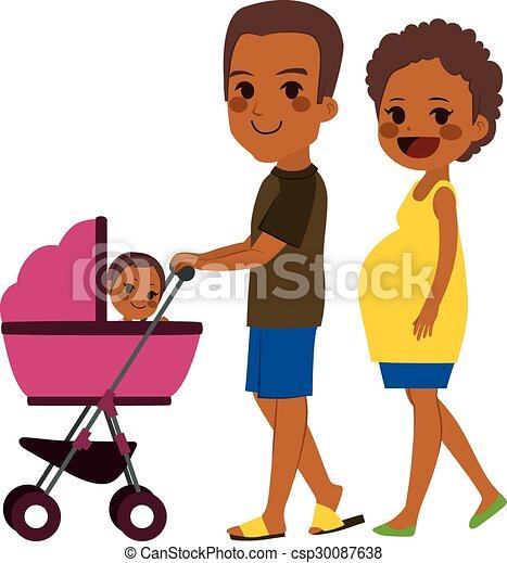 americano, empurrar, par, carrinho criança, africano - csp30087638