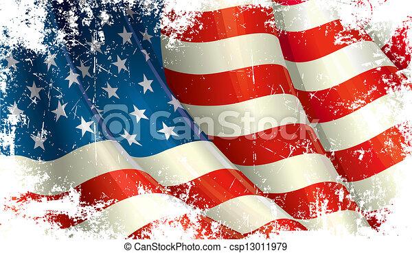 americano, grunge, bandeira - csp13011979