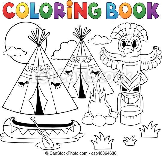Americano, libro colorante, campeggio, nativo. Coloritura, eps10 ...
