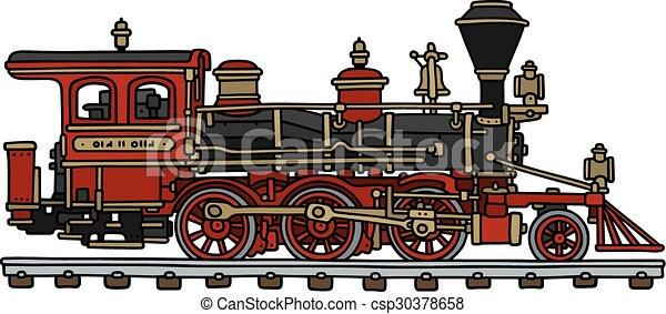 americano, locomotiva clássica, vapor - csp30378658