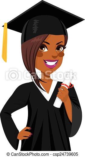 americano, menina, graduação, africano - csp24739605