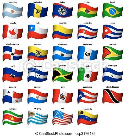 americano, ondulato, bandiere, set - csp3176478