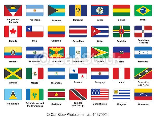 americano, países, bandeira, ícones - csp14570924