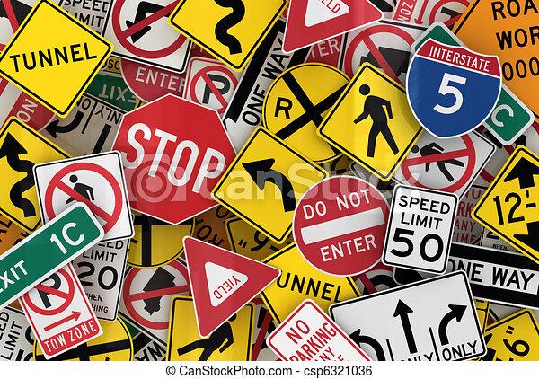 americano, sinais tráfego - csp6321036
