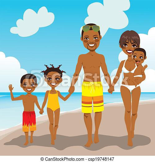 americano, vacanza spiaggia, famiglia, africano - csp19748147