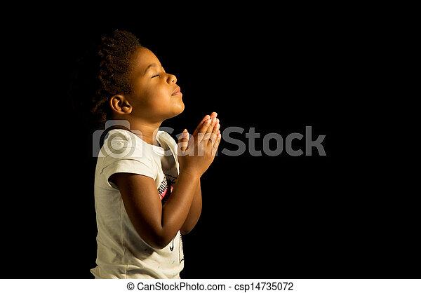 amerikaan, biddend, meisje, afrikaan - csp14735072