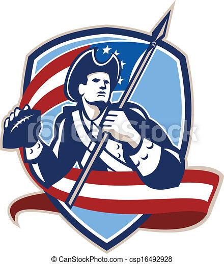 amerikai futball, patrióta, hátvéd fociban, pajzs - csp16492928
