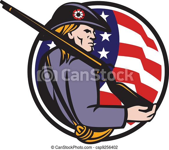 amerikai, patrióta, karabély, lobogó, minuteman - csp9256402
