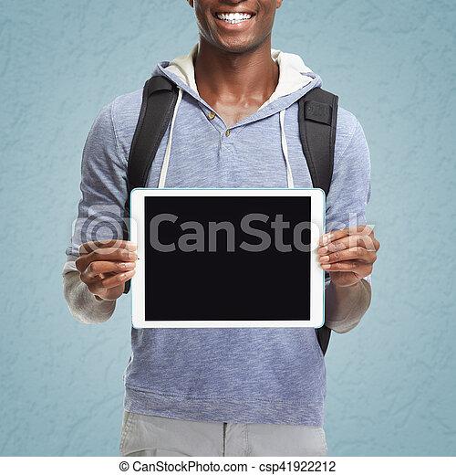amerikanische , afro, computer., tablette, mann - csp41922212