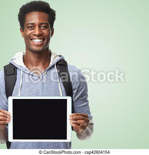 amerikanische , afro, computer., tablette, mann - csp42604154