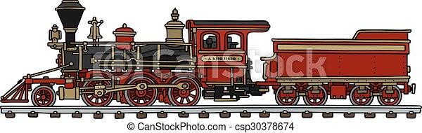 amerikanische , altes , dampf, rotes , lok - csp30378674