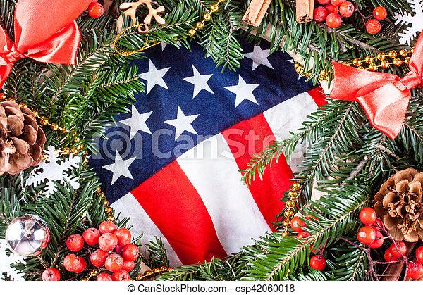 Amerikanische Weihnachtskarten.Amerikanische Baum Fahne Weihnachten