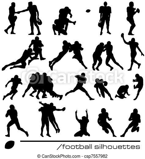Amerikanische Fußballsilhouetten - csp7557982