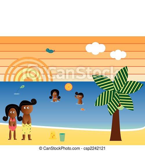 Retro Beach afroamerikanische Familie - csp2242121
