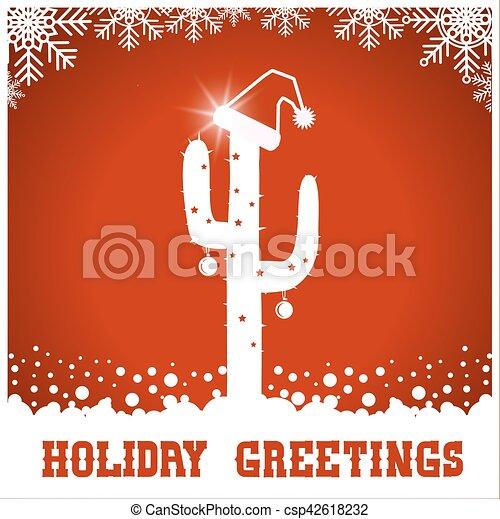 Amerikanische Weihnachtskarten.Amerikanische Westlich Santa Kaktus Hut Weihnachtskarte Rotes