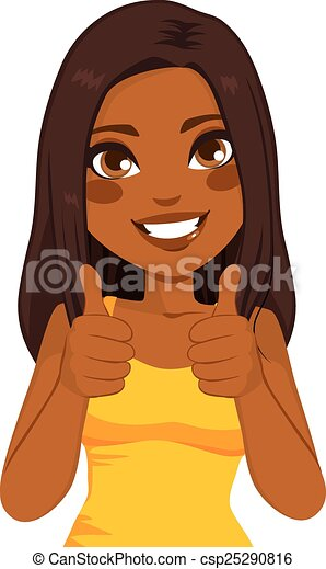 amerykańska kobieta, do góry, afrykanin, kciuki - csp25290816
