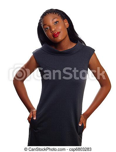 amerykańska kobieta, handlowy, afrykanin - csp6803283