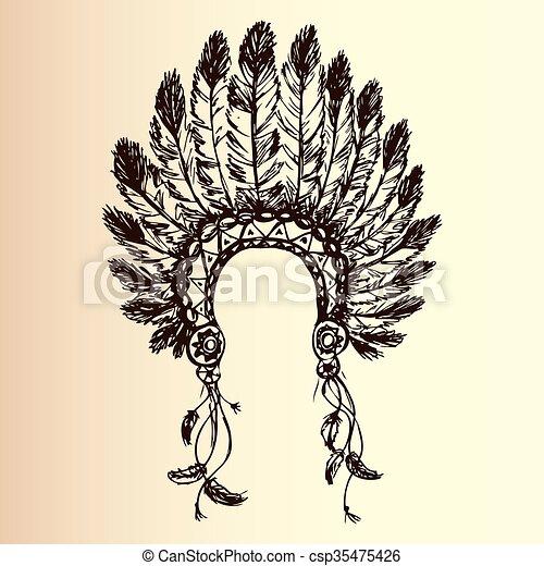 amerykański indianin, szef, fryzura, krajowiec - csp35475426