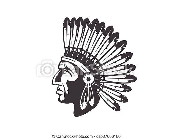 amerykański indianin, szef, fryzura, krajowiec - csp37606186
