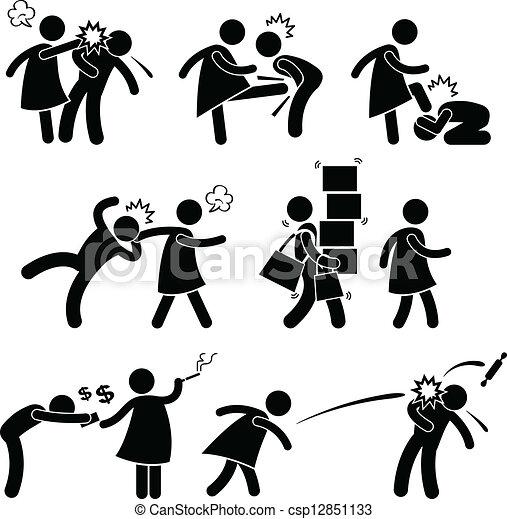 amica, abusivo, moglie, pictogram - csp12851133