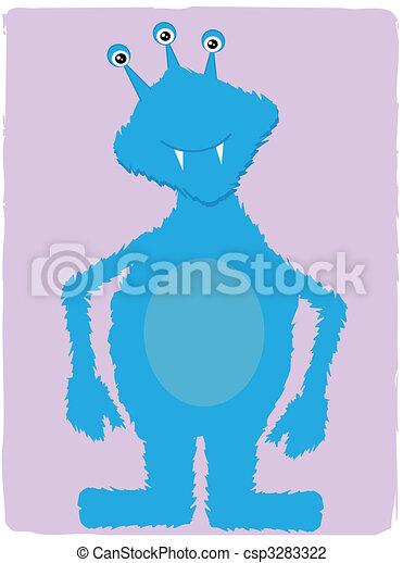 amical, bleu, monstre - csp3283322