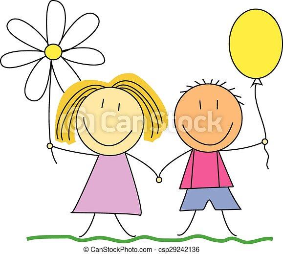 Amici Bambini Amicizia Disegno Bambini Illustration Amicizia