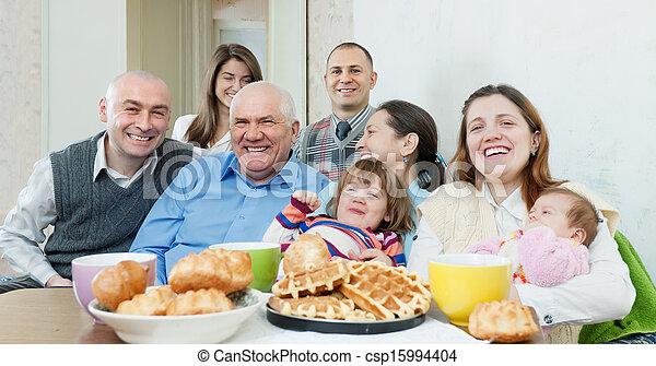 amici, multigeneration, gruppo, o, famiglia - csp15994404
