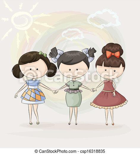 amici ragazza, tre, felice - csp16318835