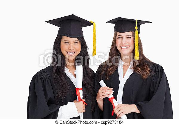 amici, stare in piedi, due, laureandosi, secondo, insieme - csp9273184