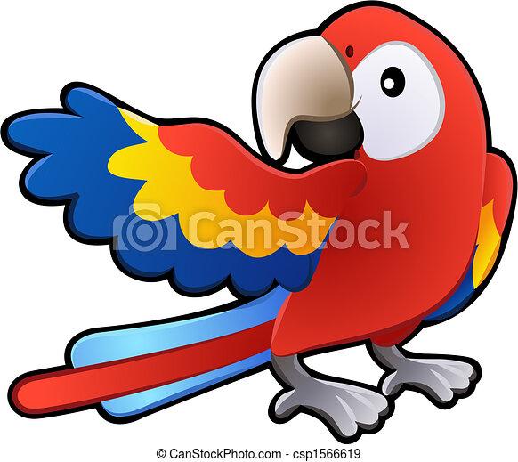 amigável, macaw, papagaio, ilustração, cute - csp1566619
