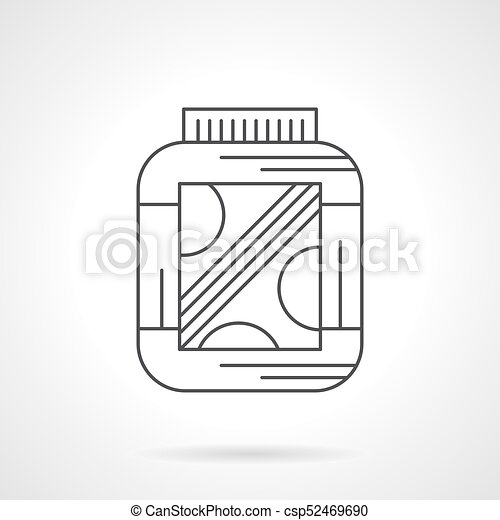 Amino Protein Supplement Flat Line Vector Icon Symbol Of Eps
