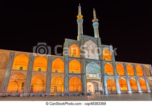 Amir Chakhmaq Complex in Yazd by night - csp48383369