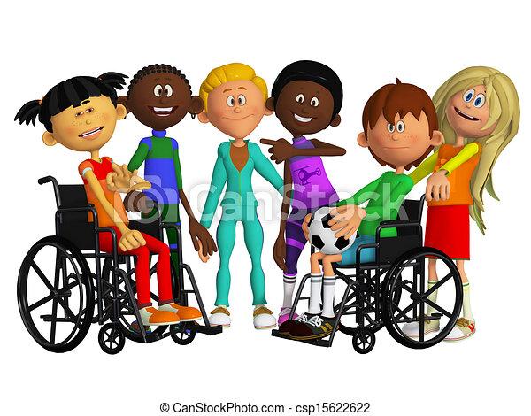 amis, camarades classe, enfants, handicapé, deux - csp15622622