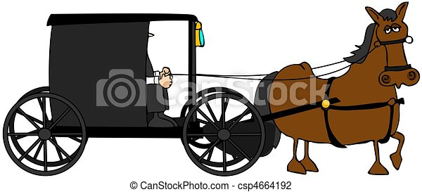 this illustration depicts an amish buggy and driver being clip rh canstockphoto com Horse and Sleigh Clip Art horse and buggy clipart